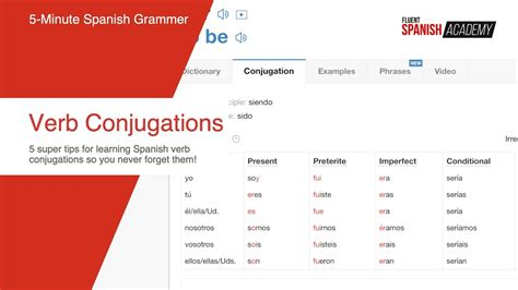 5 Simple Tips For Learning Spanish Verb Conjugations With