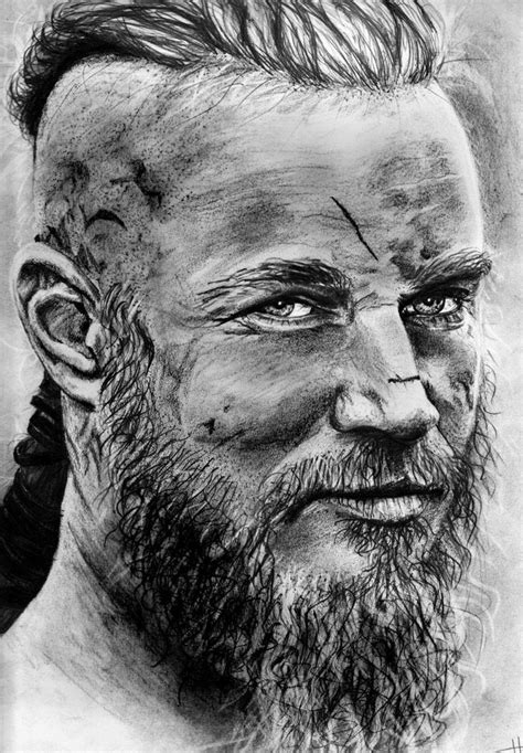 beautiful black and white ragnar lothbrok drawing