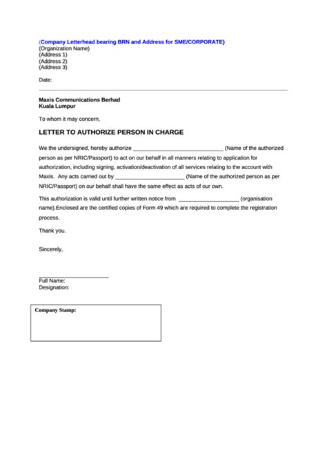Letter To Authorize Person In Charge printable pdf download