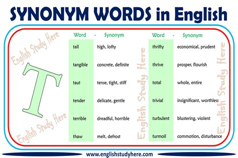 Synonym Words With T in English - English Study Here